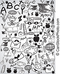 doodle, educação, fundo