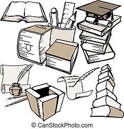 doodle education set vector