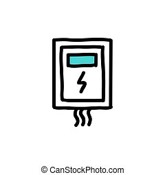 doodle, elétrico, ícone, transformador, ilustração, cor, vetorial, caixa