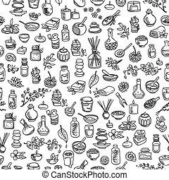 doodle, elementer, seamless, baggrund, kurbad