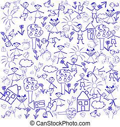 doodle, elementer, seamless, baggrund