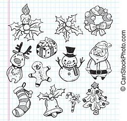 doodle, elemento, jogo, xmas, ícone