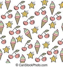 doodle, elementos, padrão, seamless, doces