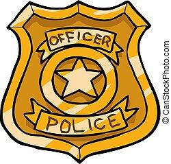doodle, emblema, caricatura, polícia