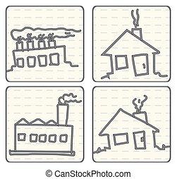 doodle, esboçado, vetorial, caricatura, ar