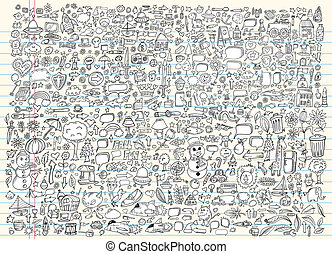 doodle, esboço, elementos, vetorial, jogo