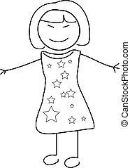 doodle, esboço, mulher, asiático