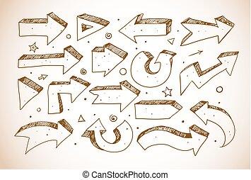 doodle, esboço, setas, estilo, vindima