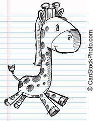 doodle, esboço, vetorial, arte, girafa