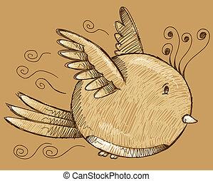 doodle, esboço, vetorial, arte, pássaro