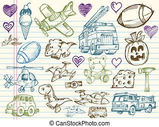 doodle, esboço, vetorial, elementos, jogo