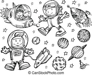 doodle, esboço, vetorial, espaço exterior