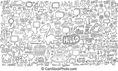 doodle, esboço, vetorial, jogo