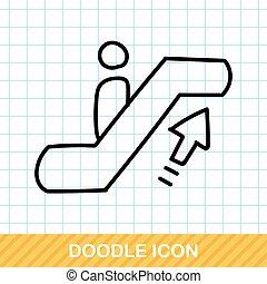 doodle, escada rolante