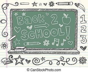 doodle, escola, costas, chalkboard