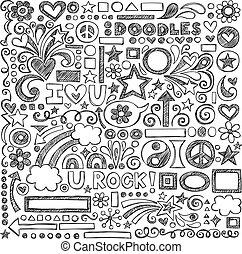 doodle, escola, costas, sketchy, ícones