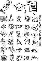doodle, escola, faculdade, ícones