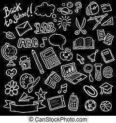 doodle, escola, objetos, cobrança, ícones