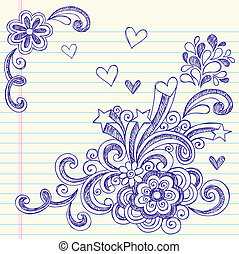 doodle, escola, vetorial, costas, página