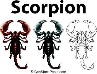 doodle, escorpião, personagem