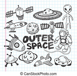 doodle, espaço, elemento, ícones