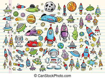 doodle, espaço, vetorial, desenho, jogo