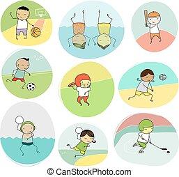 doodle, esporte equipe, crianças