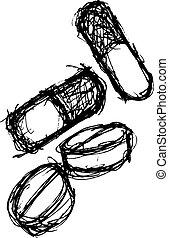 doodle, estilo, grunge, droga