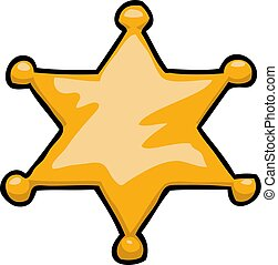 doodle, estrela, caricatura, xerife