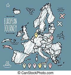 Doodle Europe map on navy chalkboard with pins and extras vector illustration