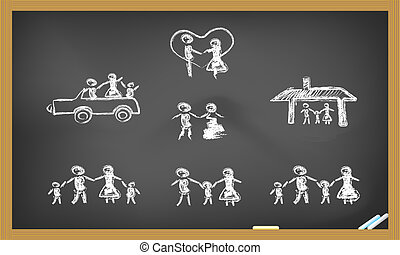 doodle, família feliz, quadro-negro