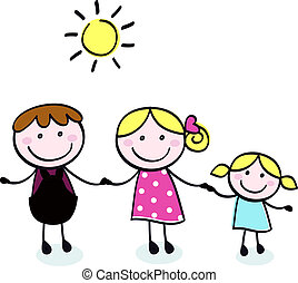 doodle, família, -, mãe, pai, e, criança, isole, branco