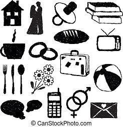 doodle, família, quadros
