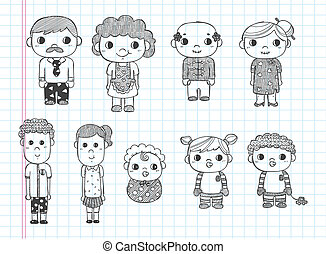 doodle family icons, illustrator line tools drawing