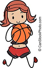 Doodle female basketball player