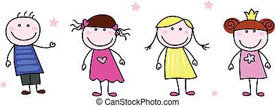 doodle, figuren, -, kinderen, stok