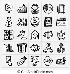 doodle, finansielle ikoner