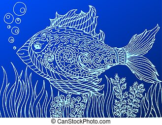 Doodle fish. Line art background. - Doodle eye in the fish...