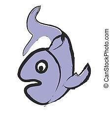 doodle fish, vector illustration