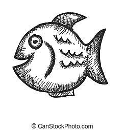 doodle fish, vector illustration