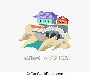 doodle flat vector illustration of Haedong Yonggungsa seaside temple in Busan, South Korea