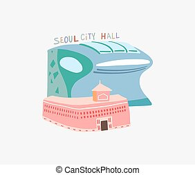 doodle flat vector illustration of Seoul City Hall is a governmental building in South Korea