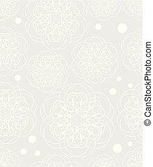 doodle, flor, motivo, baixo, contrastar, branca, desenho,...