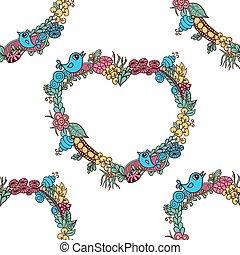 doodle floral heart pattern
