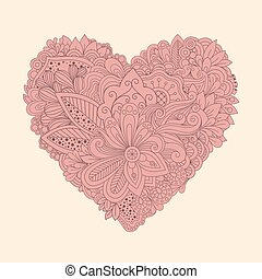Doodle floral heart. Vintage printable heart with linear flowers vector illustration