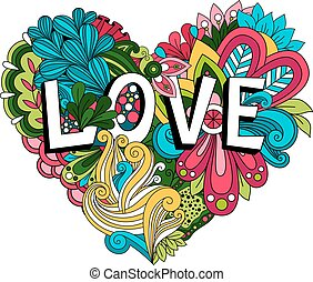 Doodle floral heart with Love lettering