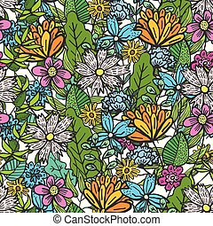 Doodle floral pattern with mess of color flowers