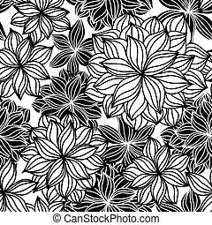 doodle, floral, seamless, padrão