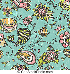 Doodle floral seamless pattern.
