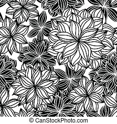 Hand-drawn floral seamless pattern in black and white